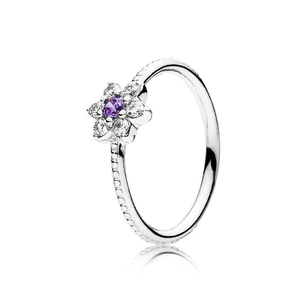 Ring Forget Me Not with Purple and Clear Cubic Zirconia
