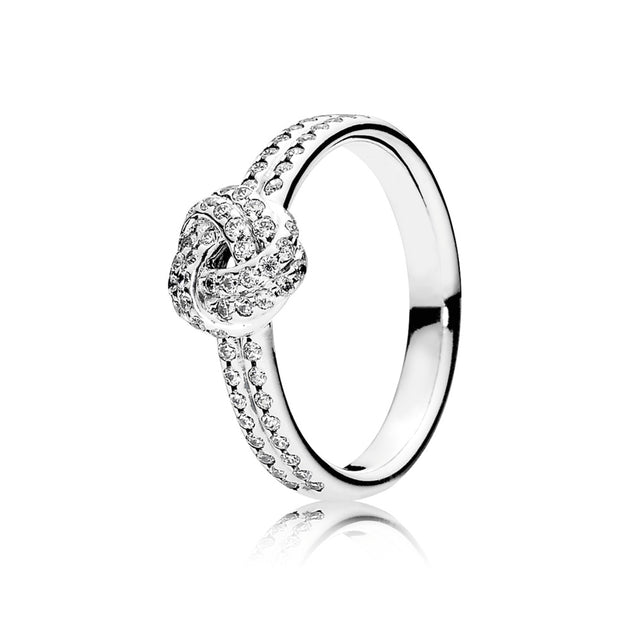 Ring Sparkling Love Knot with Clear Cubic Zirconia
