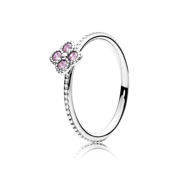 Ring Oriental Blossom with Pink Cubic Zirconia