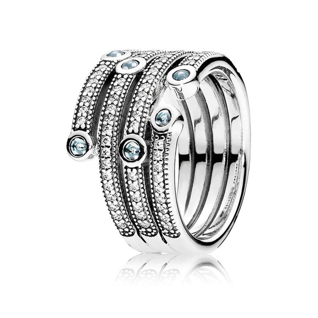 Ring Shimmering Ocean with Frosty Mint and Clear Cubic Zirconia