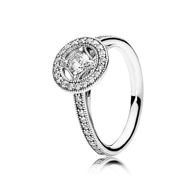 Ring Vintage Allure with Milgrain Details and Clear Cubic Zirconia