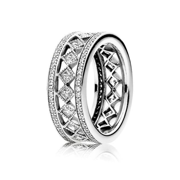 Ring Vintage Fascination with Milgrain Details and Princess-Cut Clear Cubic Zirconia