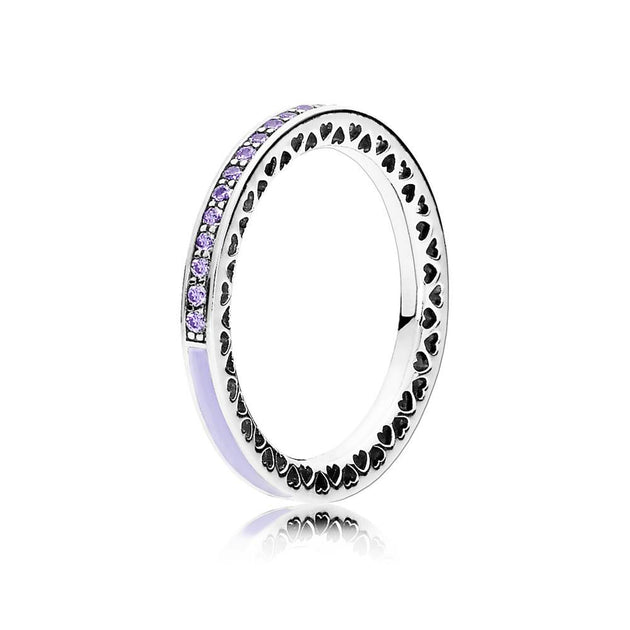 Ring Radiant Hearts of PANDORA with Lavender Enamel and Clear Cubic Zirconia