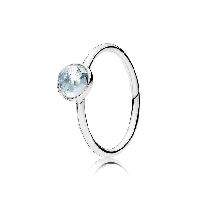 Ring March Droplet with Flower Dome-Cut Birthstone Aqua Blue Crystal
