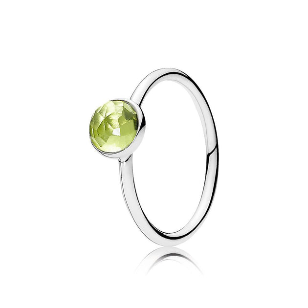 Ring August Droplet with Flower Dome-Cut Birthstone Peridot