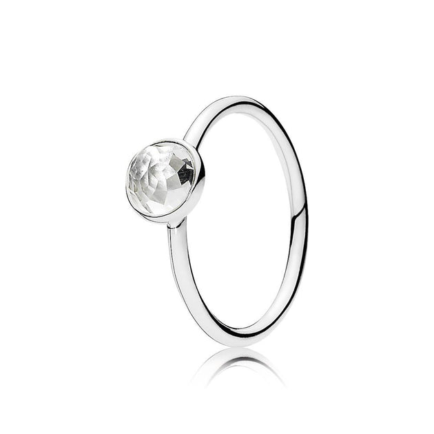 Ring April Droplet with Flower Dome ? Cut Birthstone Rock Crystal