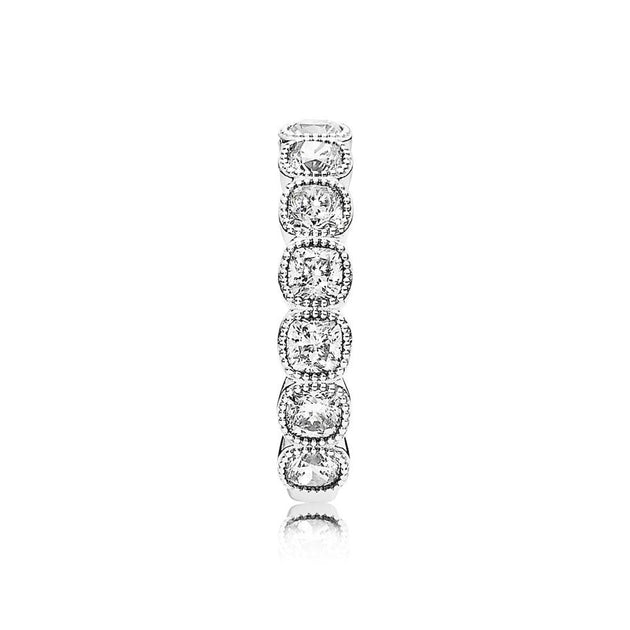 Ring Alluring Cushion with Milgrain Details and Cushion-Cut Clear Cubic Zirconia