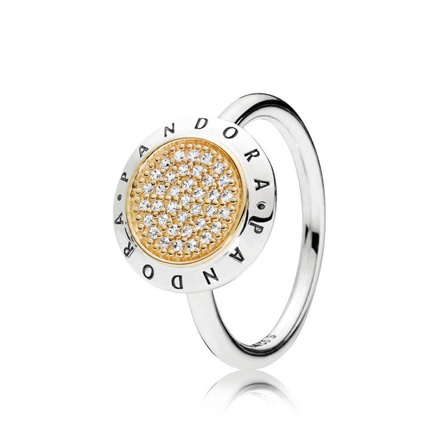 PANDORA logo ring in sterling silver with 14k gold and clear cubic zirconia