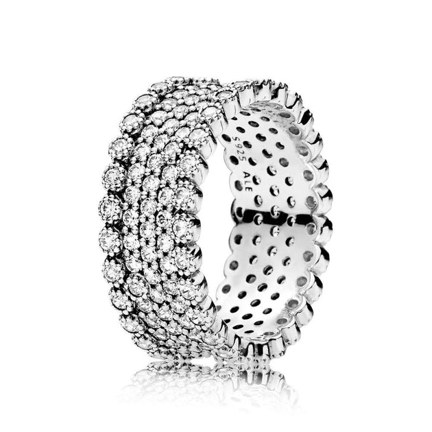Ring in sterling silver with pave-set clear cubic zirconia