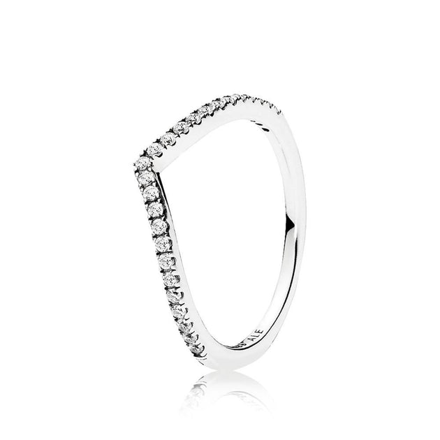 Wishbone ring in sterling silver with clear cubic zirconia