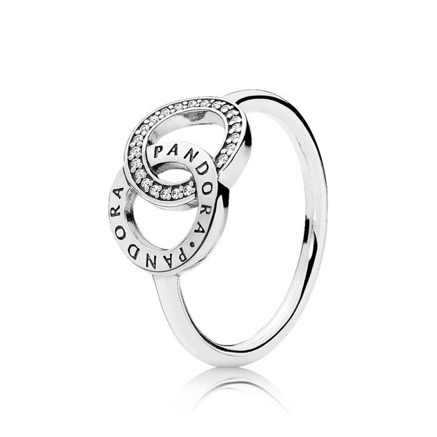 PANDORA logo ring in sterling silver with clear cubic zirconia