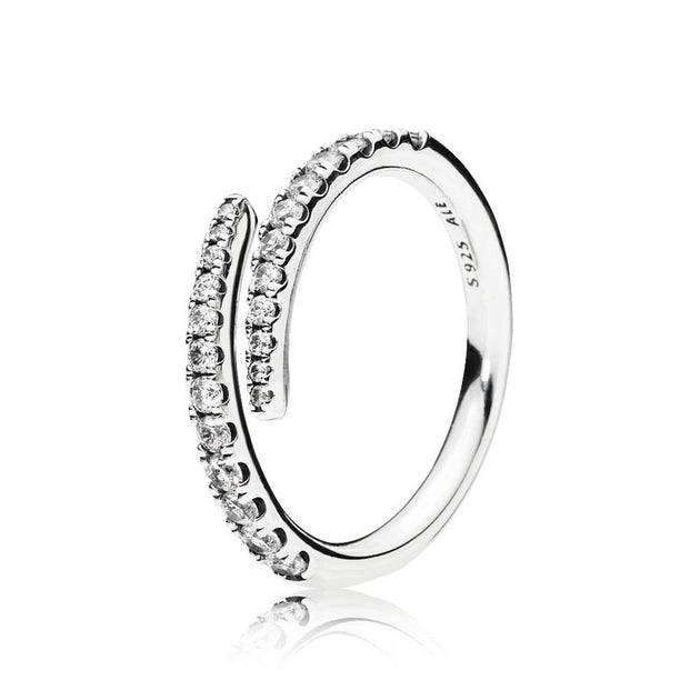 Open ring in sterling silver with 24 bead-set clear cubic zirconia