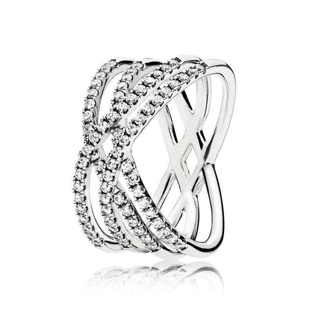 Ring in sterling silver with 71 bead-set clear cubic zirconia