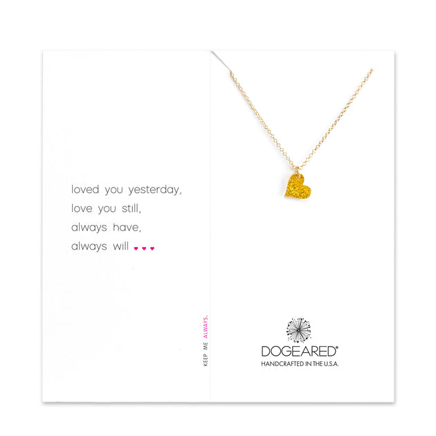 Loved You Yesterday, Necklace, Gold Dipped Sparkle Heart, 18""