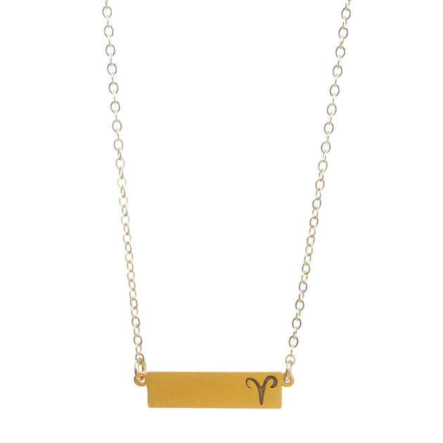 "Zodiac, Aries Necklace, 18"", Gold Dipped"