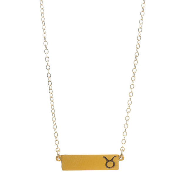 "Zodiac, Taurus Necklace, 18"", Gold Dipped"