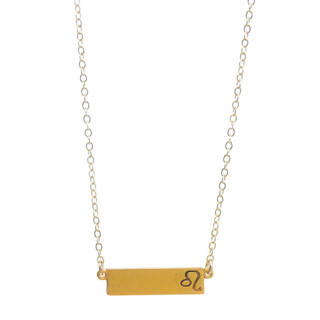 "Zodiac, Leo Necklace, 18"", Gold Dipped"
