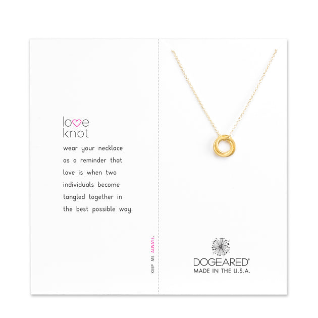 "Love Knot Necklace, 18"" With 2"" Extender, Gold Dipped"