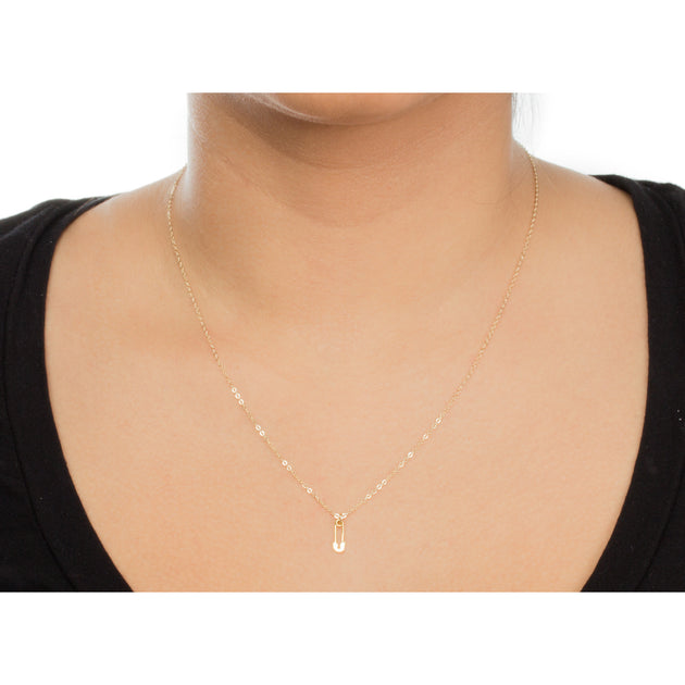 "New Mom, Safety Pin Necklace, Gold Dipped, 18"" with 2"" extender"