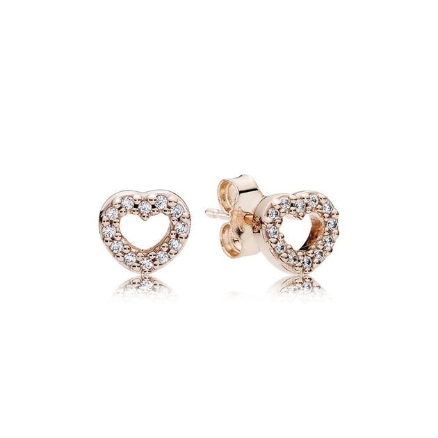 Stud Earrings Captured Hearts with Clear CZ