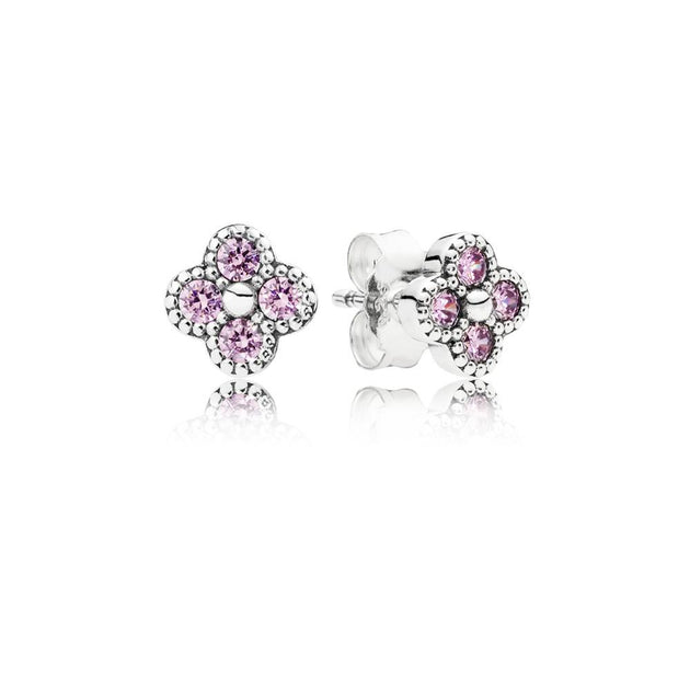 Earring Studs Oriental Blossom with Pink Cubic Zirconia