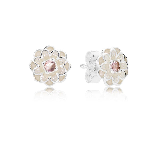 Earring Studs Blooming Dahlia with Cream Enamel and Blush Pink Crystals