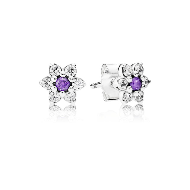 Earring Studs Forget Me Not with Purple and Clear Cubic Zirconia