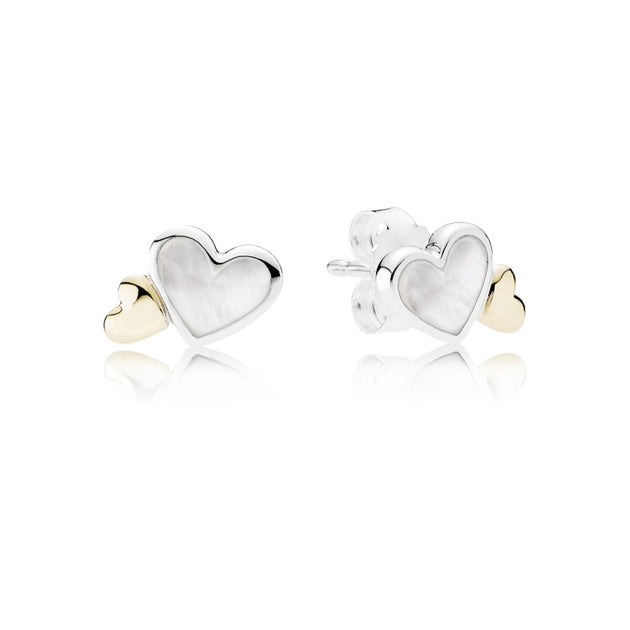 Earring Studs Luminous Hearts with 14K Gold and Mother-of-Pearl