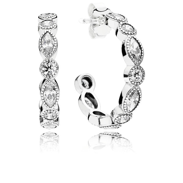 Hoop Earrings Alluring Briliant Marquise with Milgrain Details and Clear Cubic Zirconia