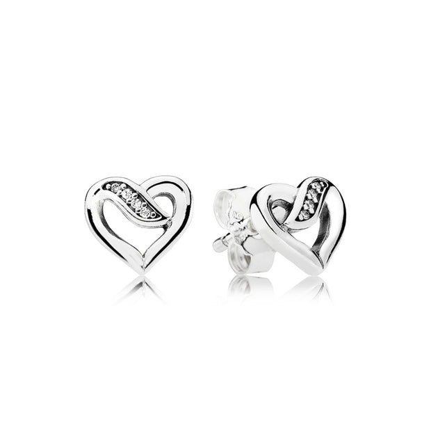 Earring Studs Ribbons of Love with Clear Cubic Zirconia
