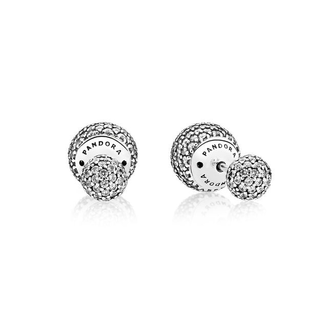 Earring Studs Pave Drops with Clear Cubic Zirconia and backs with silicone inserts