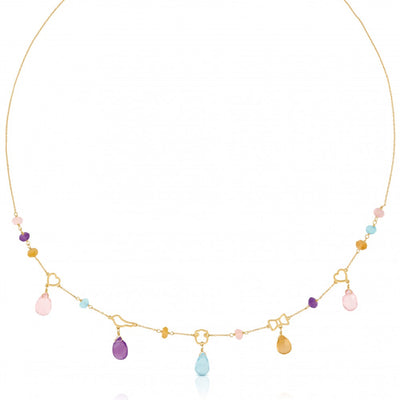 Gold Silueta Necklace with Gemstones, Tous