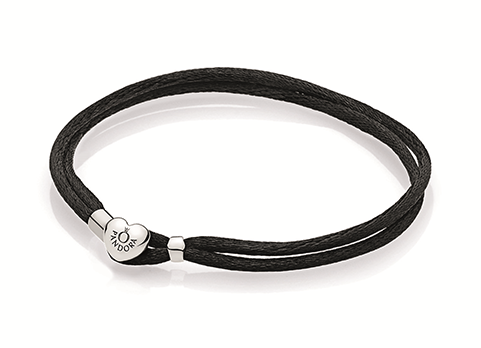 Double fabric cord bracelet in black with heart-shaped lock in sterling silver