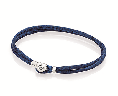 Double fabric cord bracelet in dark blue with heart-shaped lock in sterling silver