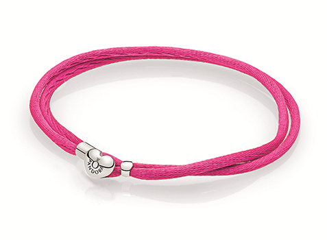 Double fabric cord bracelet in hot pink with heart-shaped lock in sterling silver