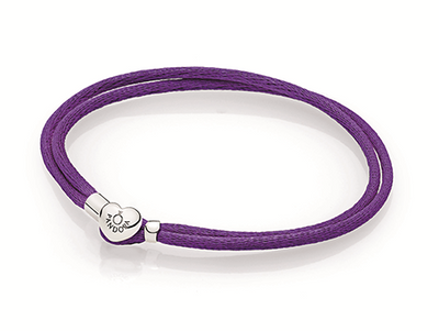 Double fabric cord bracelet in purple with heart-shaped lock in sterling silver