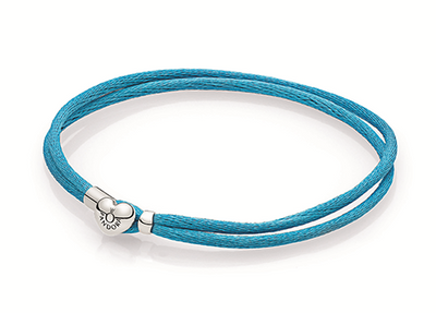 Double fabric cord bracelet in turquoise with heart-shaped lock in sterling silver