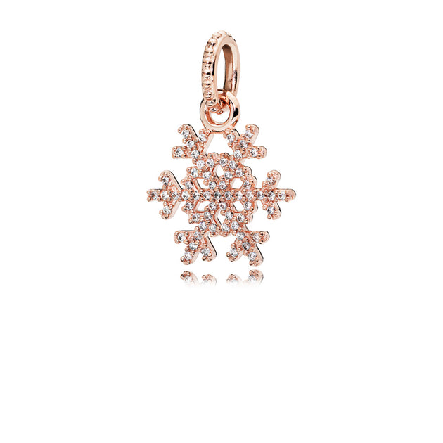 Snowflake pendant in PANDORA Rose with clear cubic zirconia
