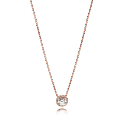 Necklace in PANDORA Rose with clear cubic zirconia, adjustable to 42 cm and 38 cm