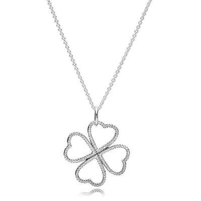 Necklace Petals of Love with Clear Cubic Zirconia, 90 cm