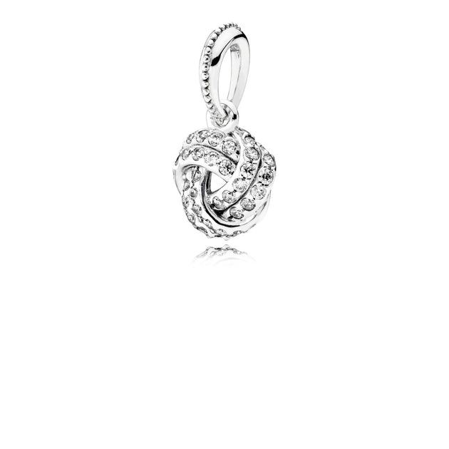 Pendant Sparkling Love Knot with Clear Cubic Zirconia