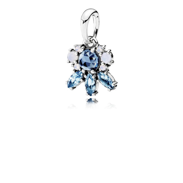 Pendant Patterns of Frost with Moonlight Blue, Sky-Blue, and Opalescent White Crystals