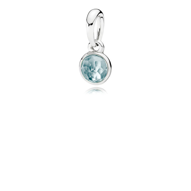 Pendant March Droplet with Aqua Blue Crystal
