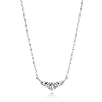 Tiara collier necklace in sterling silver with clear cubic zirconia, adjustable to 42,38 cm