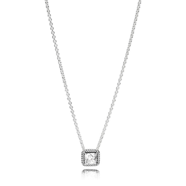 Collier necklace in sterling silver with clear cubic zirconia adjustable to 42-38 cm