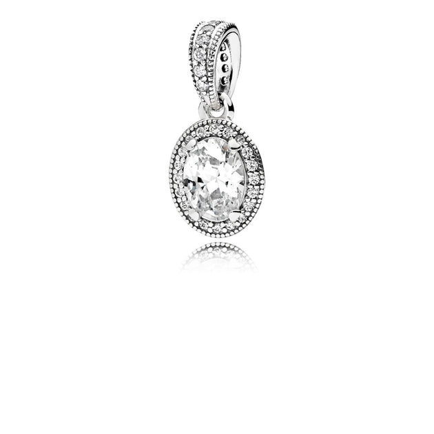 Pendant in sterling silver with clear cubic zirconia