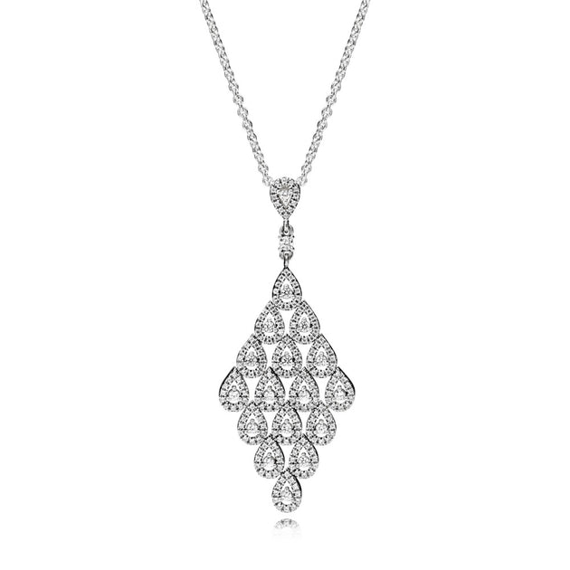 Teardrop pendant in sterling silver with clear cubic zirconia 80 cm chain with sliding clasp