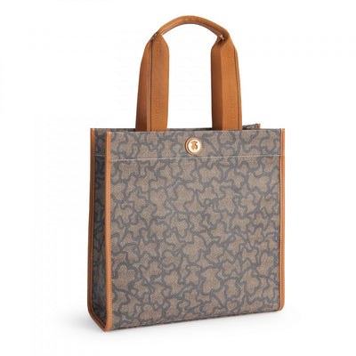 Nude-denim colored Canvas Kaos New Total Shopping bag, Tous, Handbags