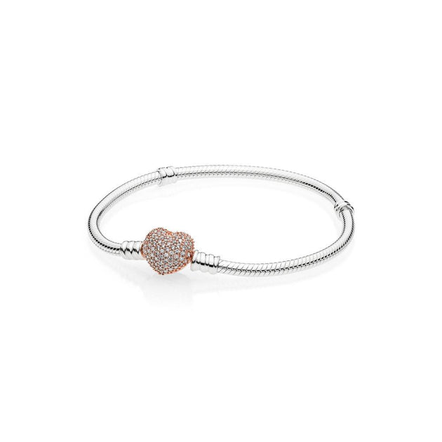 Bracelet in sterling silver with heart-shaped PANDORA Rose clasp with clear cubic zirconia