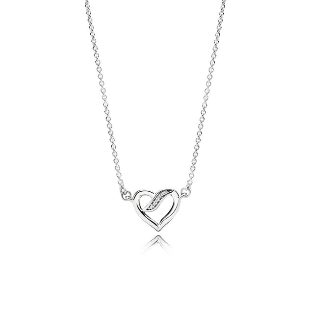 Necklace Ribbons of Love with Clear Cubic Zirconia, 45 cm